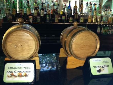 Rum barrels of orange peel and cinnamon and vanilla
